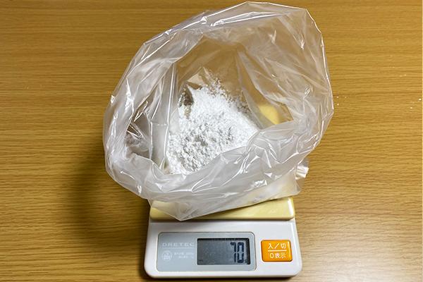 ビニール袋で粉を計量